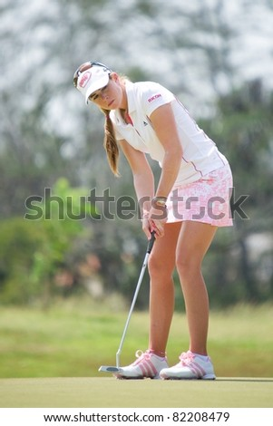 PATTAYA, THAILAND - FEBRUARY 20: US golf player Paula Creamer in action during Day 4 of Honda LPGA Thailand 2011 on February 20, 2011 at Siam Country Club Old Course in Pattaya, Thailand