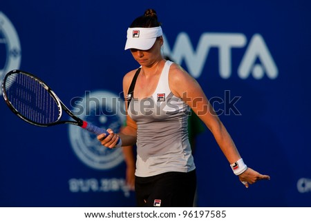 PATTAYA THAILAND - FEBRUARY 8: Vera Zvonareva reacts after losing a point during Round 2 of PTT Pattaya Open 2012 on February 8, 2012 at Dusit Thani Hotel in Pattaya, Thailand