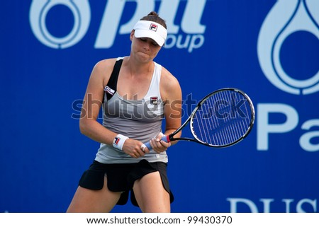 PATTAYA, THAILAND - FEBRUARY 10: Vera Zvonareva reacts after losing a point during Round 3 of PTT Pattaya Open 2012 on February 10, 2012 at Dusit Thani Hotel in Pattaya, Thailand