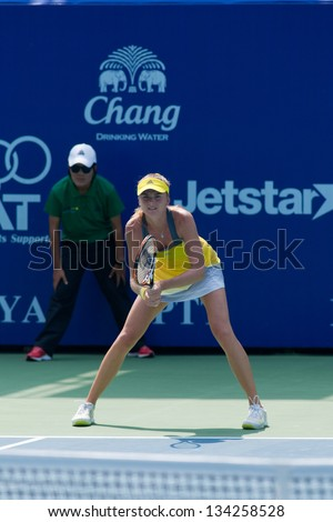 PATTAYA THAILAND - JANUARY 31: Daniela Hantuchova of Slovakia prepares to return a serve during 1st round of PTT Pattaya Open 2013 on January 31, 2013 at Dusit Thani Hotel in Pattaya, Thailand