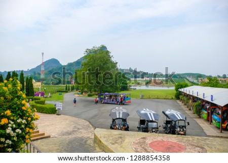 Pattaya, Thailand - January 2019 : Scenery of Silverlake Grape Farm with mountain and beautifui building at Pattaya,Thailand. #1288854358