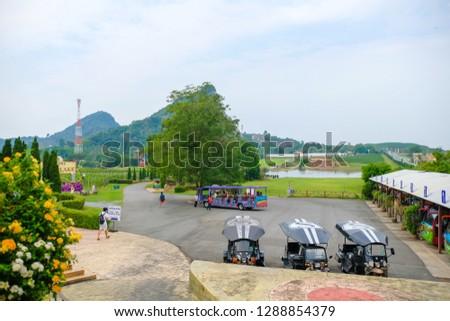 Pattaya, Thailand - January 2019 : Scenery of Silverlake Grape Farm with mountain and beautifui building at Pattaya,Thailand. #1288854379