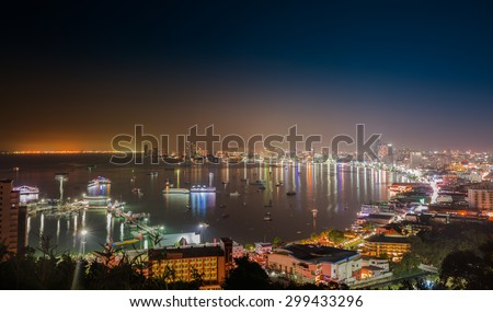 PATTAYA, THAILAND - JULY 23 : The building and skyscrapers in night time on July,23,2015 in Pattaya,Thailand.Pattaya city is famous about sea sport and night life entertainment.