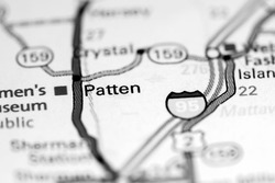 Patten. Maine. USA on a map