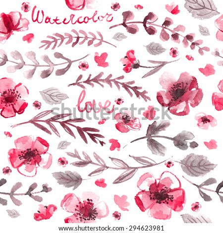 Pattern color flowers watercolor background for textures. Abstract watercolor background