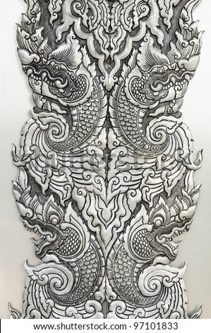 Pattern Decorative Art of Lanna Thai. Engraving of the silver value. #97101833