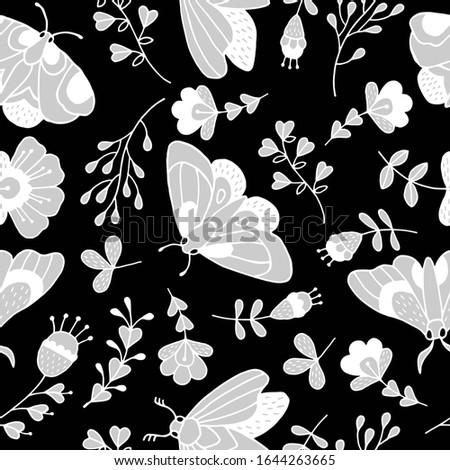 pattern decorative flowers, decorative butterflies
