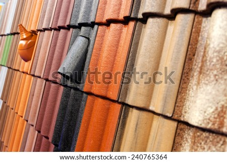 pattern detail of orange ceramic roof tiles #240765364