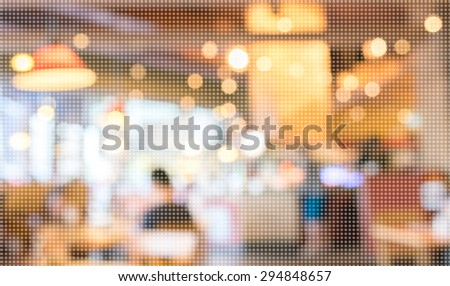 Pattern dot Pixelation image of Empty wood table and Coffee shop blur background with bokeh.