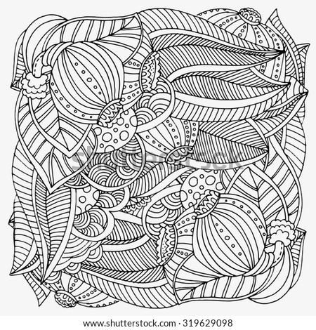 Pattern for coloring book.  Ethnic, floral, retro, doodle, tribal design element. Black and white  background. Zentangle patterns.