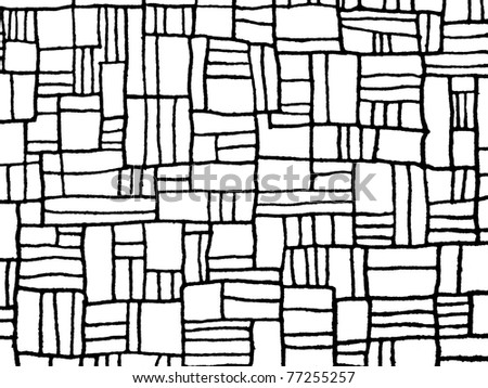 Pattern from black mosaic lines abstract texture on white