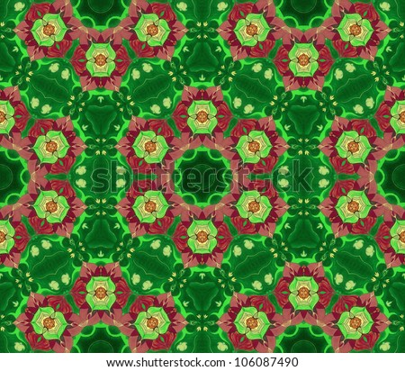 Pattern Mandala Green /Ornamental round floral pattern. kaleidoscopic floral pattern, six-pointed mandala. Fractal mosaic background./ High resolution abstract image.