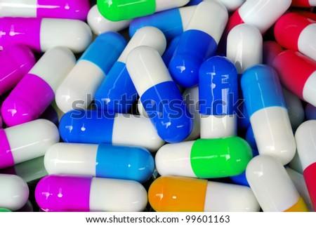 pattern of antibiotic capsule close up view