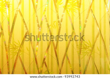Pattern of bamboo and leaves on frosted glass suit for use as background