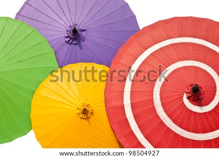 pattern of color  paper umbrellas.