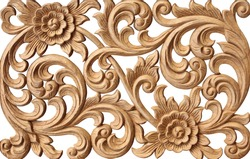 Pattern of flower carved on wood isolated on white background.