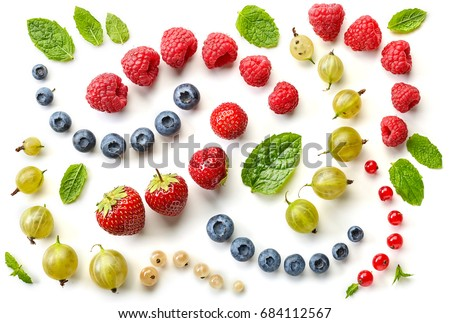 pattern of fresh berries isolated on white background, top view
