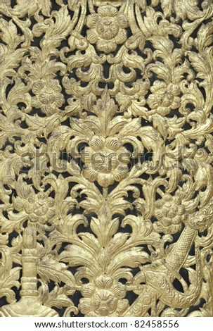 Pattern of National Thai art on wood carving