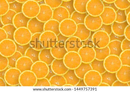 Pattern of orange citrus slices. Citrus flat lay #1449757391