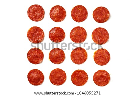 Photo of  Pattern of pepperoni sausages. ingredient for pizza