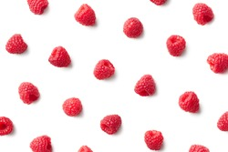 Pattern of raspberries isolated on white background. Top view