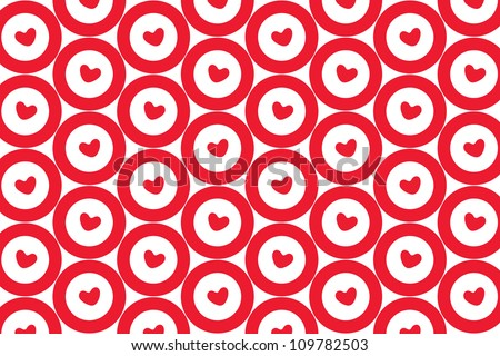 pattern of red target sign with heart in center