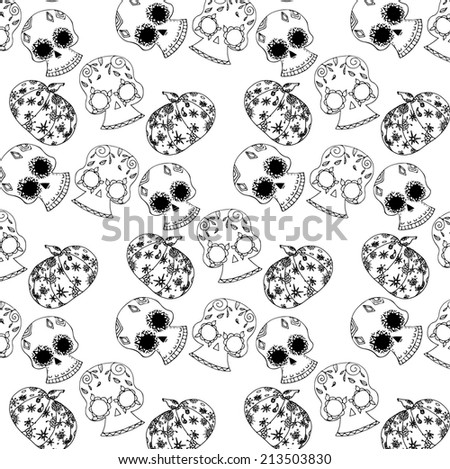 pattern of skulls for a holiday Halloween