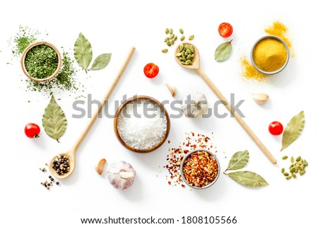 Pattern of spices herbs and flavoring - top view Stock photo ©