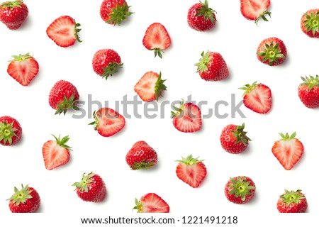 Pattern of strawberries isolated on white background. Top view #1221491218