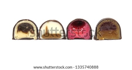 Pattern of sweet confectionery, sweet delights, concept mountains of sliced candy halves, isolated on white background