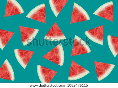 Pattern of sweet juicy pieces watermelon, watermelon slices with seed. Summer fruit background. trendy design. Trendy design #1082476115