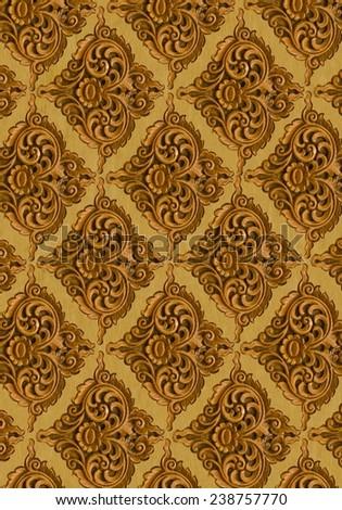 Pattern Of Wood Carve Flower Frame On Background