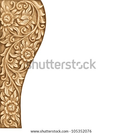 Pattern of wood frame carve flower on white