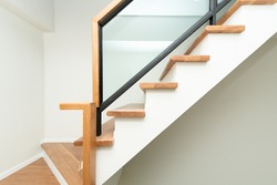 Pattern of Wooden stairs interior.