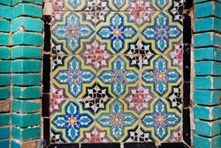 Pattern on the tile of the wall of an historical persian building in Iran