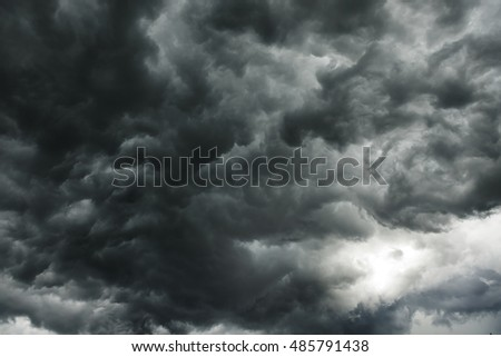 Pattern or texture of  dark cloud before the storm comes. Large clouds gather from white to black. The light from the sky gradually darkens and the wind is very strong.