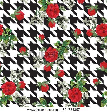 Pattern Pied de poule Embroidery Roses Leaves Stock fotó ©