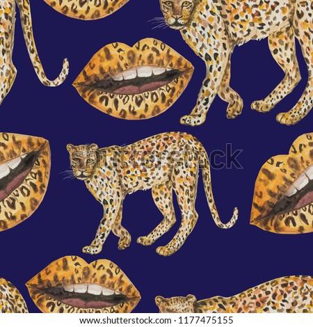 pattern seamless leopard panther background beast carnivorous beast lips lipstick makeup paint blue