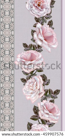 Pattern, seamless. Old style. Fine weaving, mosaic. Lace, curls of the pearls. Vintage background. Vertical floral border. Garland of pale pink and pastel roses.