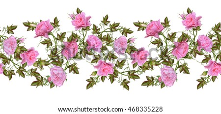 Pattern, seamless. Old style. Fine weaving, mosaic. Vintage background. Flower garland of pink and pastel roses. Horizontal border. Isolated on white background. #468335228