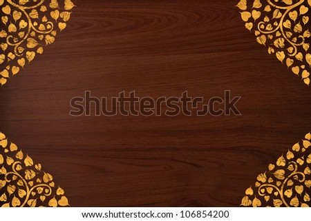 Pattern thai carve gold on old wood texture