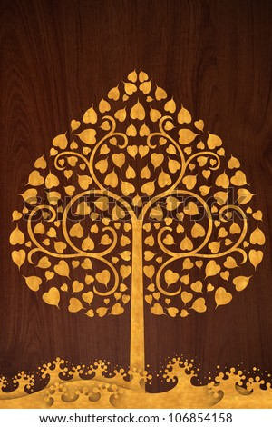 Pattern thai carve wave and tree gold on old wood texture