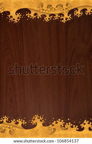 Pattern thai carve wave gold on old wood texture