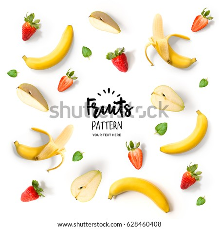 Pattern with banana, strawberry and pear. Tropical abstract background. Banana, strawberry and pear on the white background.