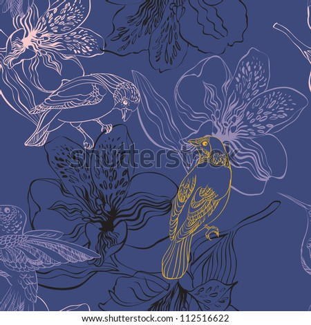 pattern with birds and flowers on a blue background