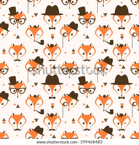 Pattern with cute hipster foxes and triangles. Raster version