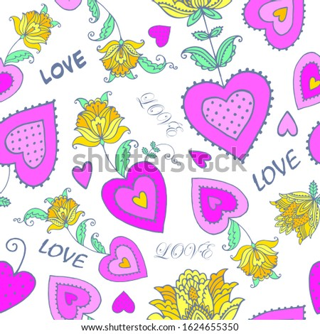 pattern with decorative hearts , decorative flowers, label love