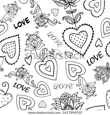 pattern with decorative hearts , decorative flowers, label love,valentines day