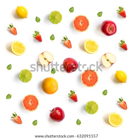 Pattern with grapefruit, strawberry, lime, lemon and apple. Tropical abstract background.  Grapefruit, strawberry, lime, lemon and apple on the white background.
