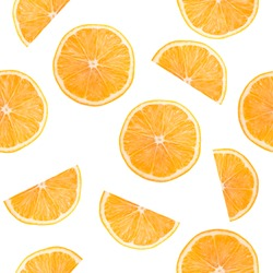 pattern with orange slices on a white background